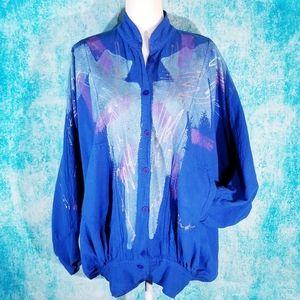 VTG 80s Batwing Blue Painted Funky OOAK Jacket